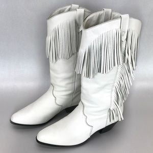 Dingo White Fringe Leather Western Cowgirl Boots